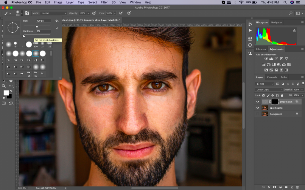 smooth skin in photoshop