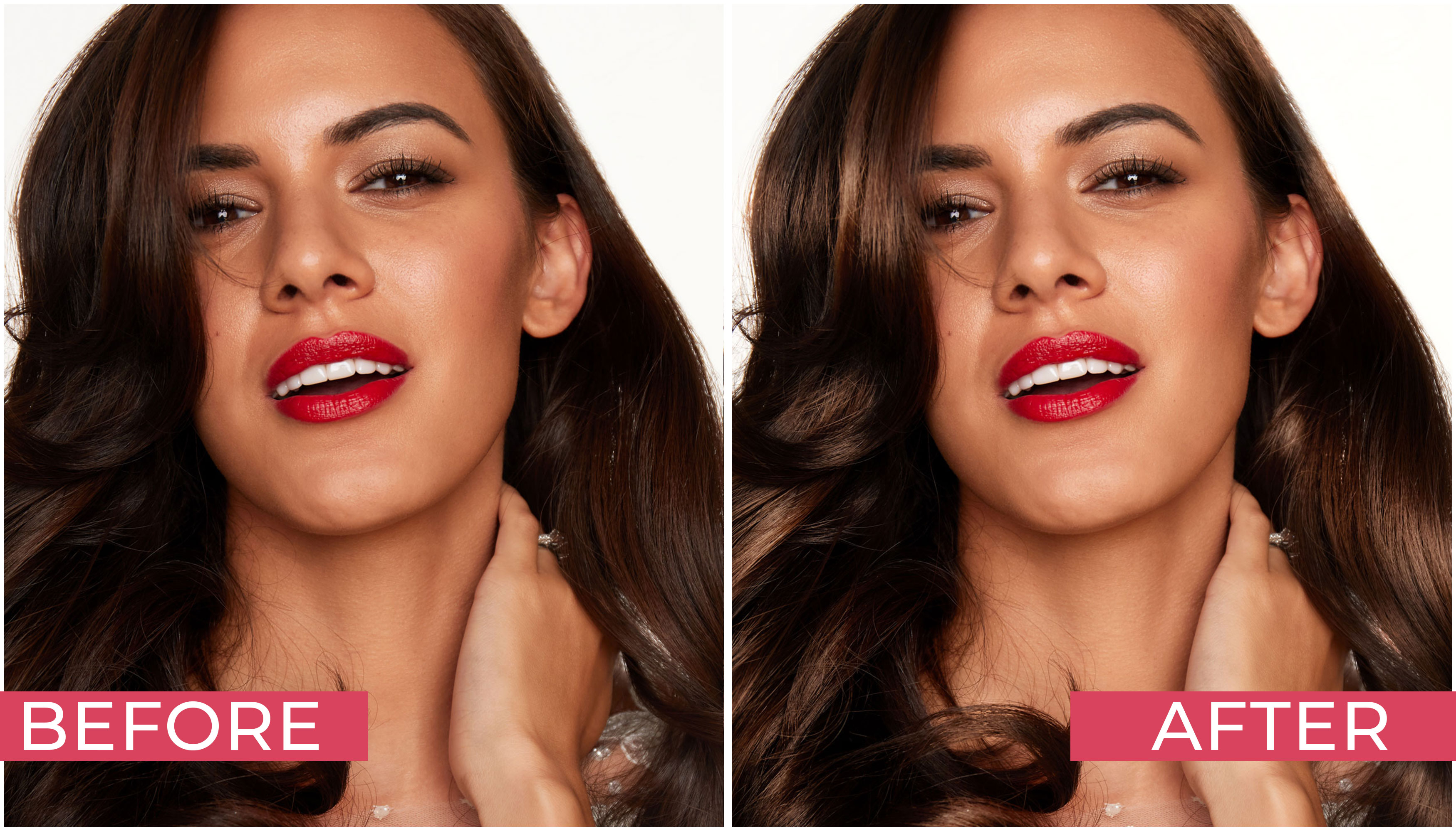 Create Shiny and Voluminous Hair Before and After