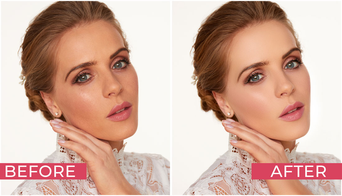 Natural Skin Texture in Photoshop Before and After