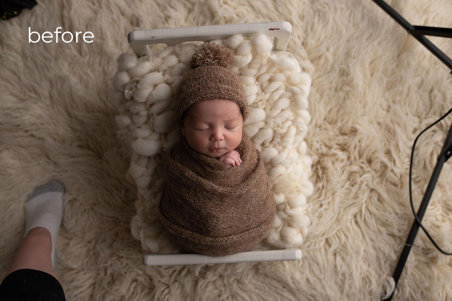 Newborn Photo Retouching before